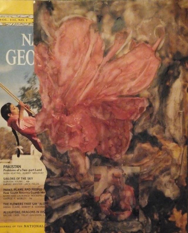 Swinging Flower and Father, National Geographic, altered art, collage, by Mary MacGowan