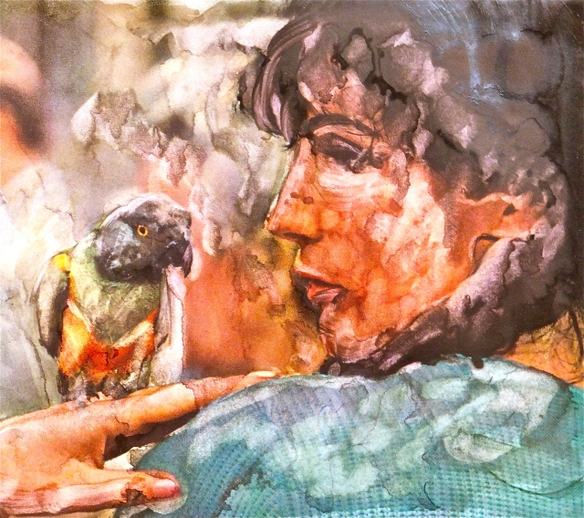 Woman and Parrot, National Geographic, altered art, by Mary MacGowan
