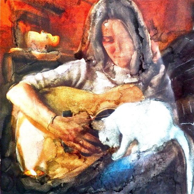 Woman With Cat, altered art, National Geographics, by Mary MacGowan