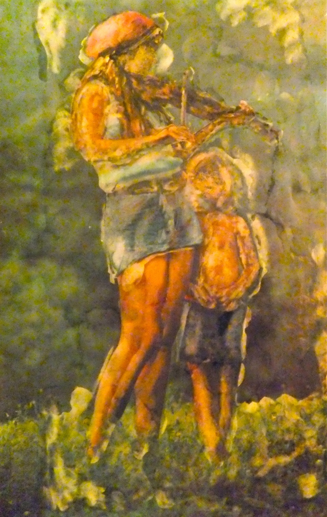Family Violin, National Geographic photo altered and painted by Mary MacGowan